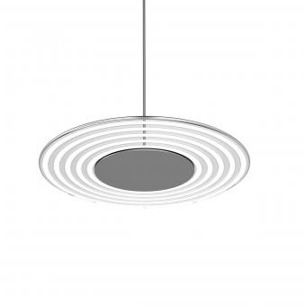 arteLuna® Pendelleuchte ADOT Circ Aluminium Glas weiß gestreift Ø400mm 24W neutralweißes Licht