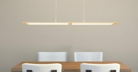 arteLuna® Pendelleuchte ADOT One bronzegold Aluminium 935x120x6mm 28W neutralweißes Licht