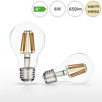 LED-Glühfadenlampe E27 6W 60x105mm warmweiss 2700K 650lm
