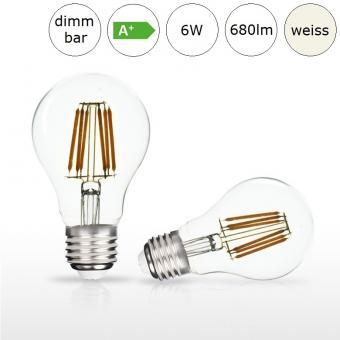 LED-Glühfadenlampe E27 AGL-Form 6W 60x105mm neutralweiss 4000K 680lm dimmbar