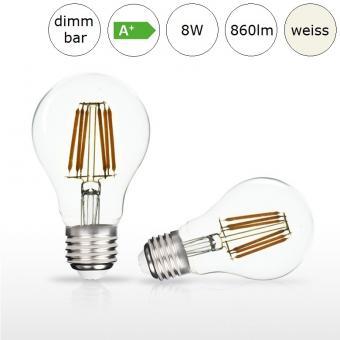 LED-Glühfadenlampe E27 AGL-Form 8W 60x105mm neutralweiss 4000K 860lm dimmbar