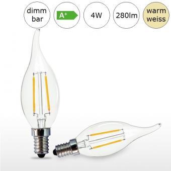 LED-Glühfadenlampe E14 4W 35x117mm warmweiss 2700K 280lm dimmbar