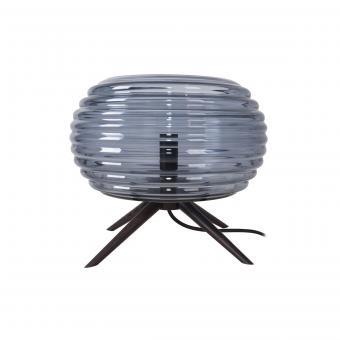 Vandeheg® Tischleuchte ANIL KLEIN Glas/Holz rauchblau/schwarz Ø27xH25cm max.40Watt
