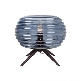 Vandeheg® Tischleuchte ANIL GROß Glas/Holz rauchblau/schwarz Ø40xH30cm max.40Watt