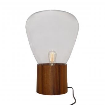 Vandeheg® Tischleuchte CUPCAKE GROß Glas/Buche transparent/braun Ø37xH53cm max.40Watt