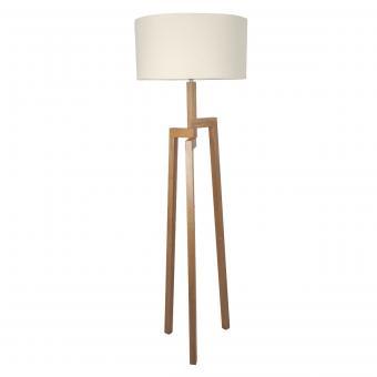 Vandeheg® Stehleuchte ALEO CREAM Holz/Leinen creme Ø50 x H175cm max. 60 Watt
