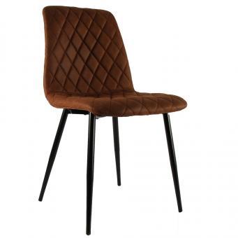 Decostar Esszimmer-Stuhl Wale Kunstleder gesteppt schwarz/braun L45xB51xH85cm