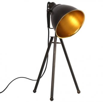 Decostar Tischleuchte Hornell schwarz/gold Ø22cm H45cm max. 40Watt