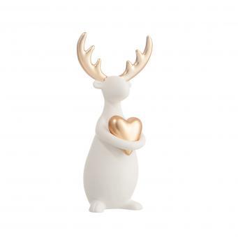 J-Line Rentier mit Herz Keramik weiß/gold Small L11xB10xH23cm