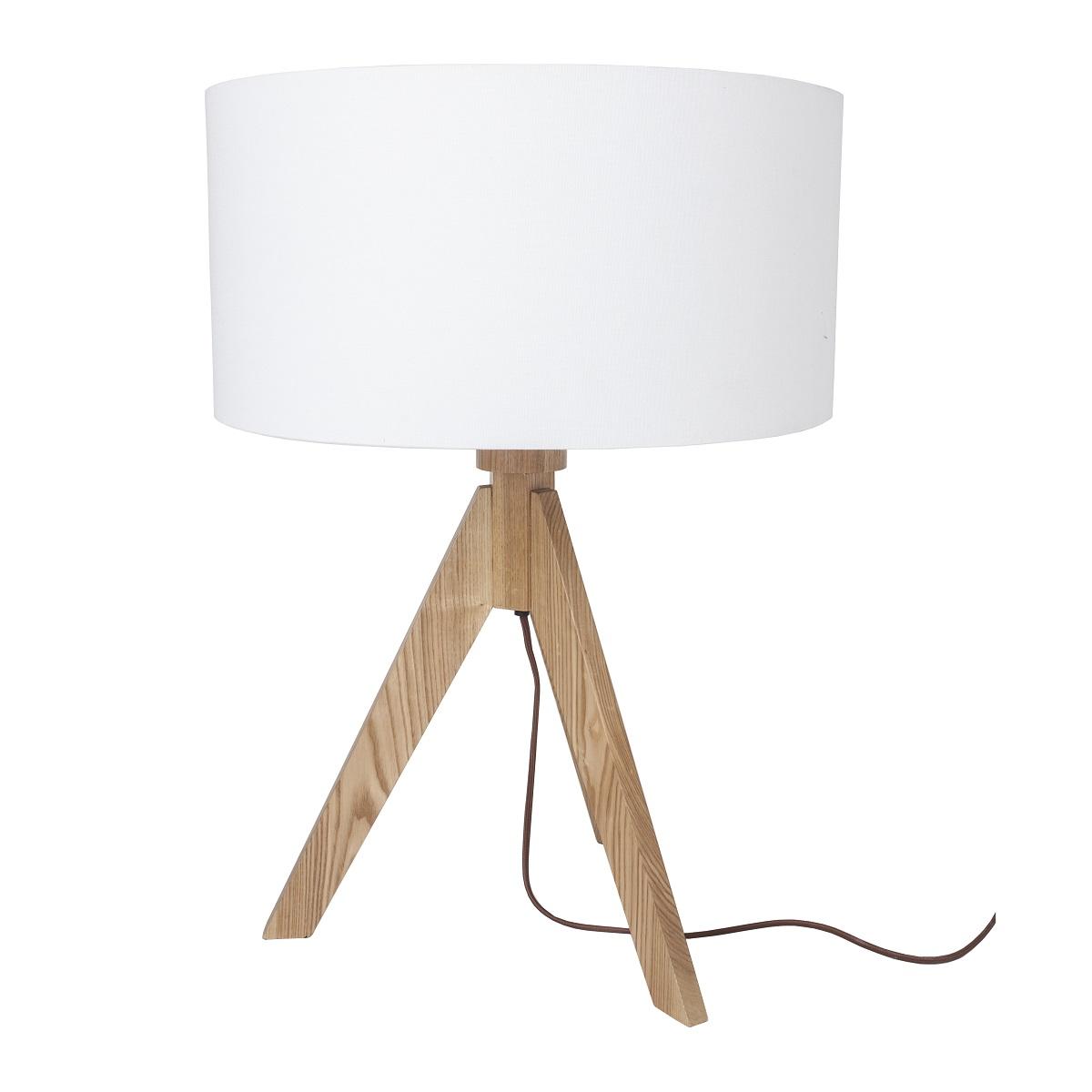 lampenhelden vandeheg tischleuchte elv holz metall wei 40 x h48 cm max 60 watt online kaufen. Black Bedroom Furniture Sets. Home Design Ideas