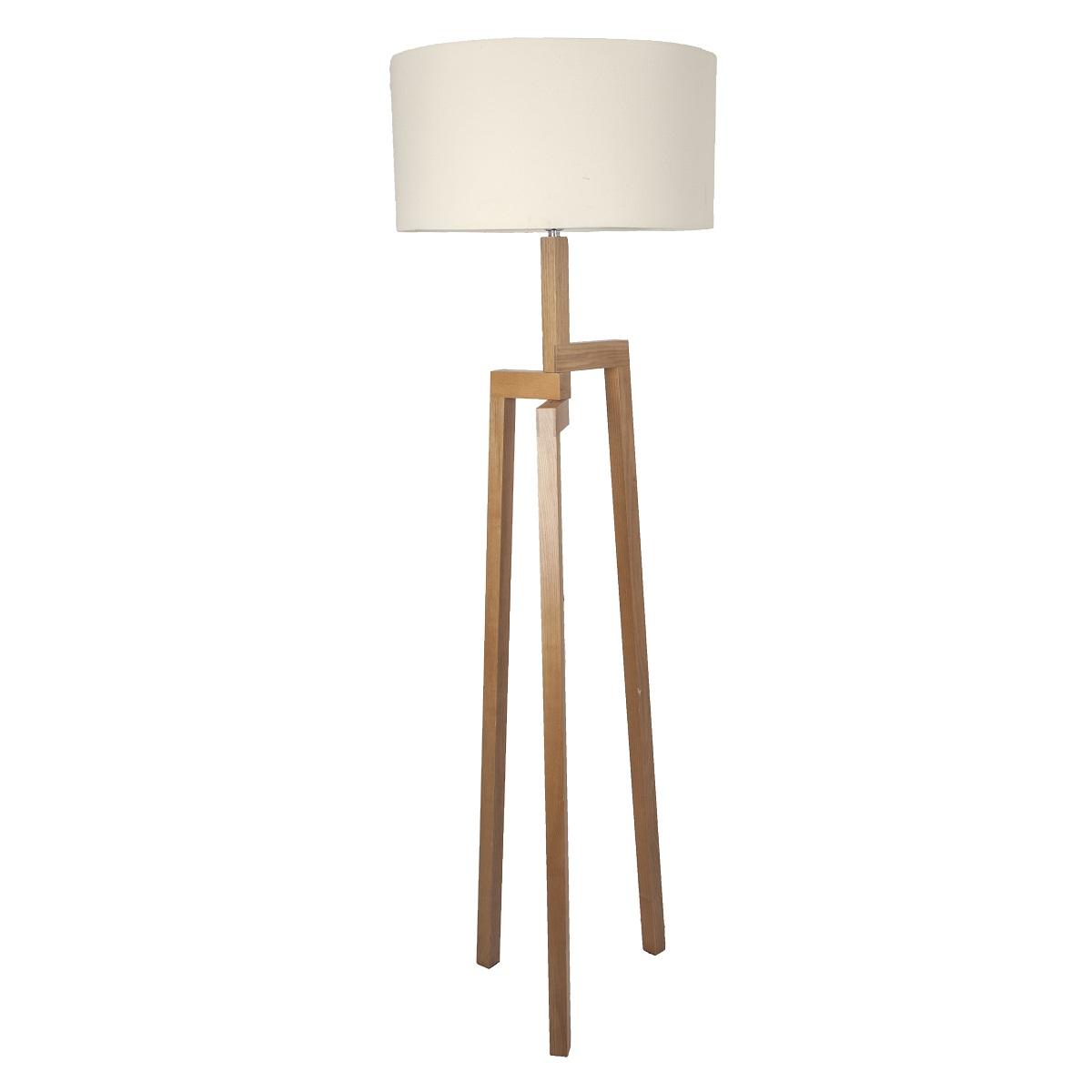 lampenhelden vandeheg stehleuchte aleo cream holz leinen creme 50 x h175cm max 60 watt. Black Bedroom Furniture Sets. Home Design Ideas