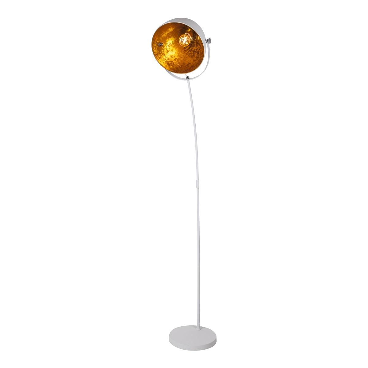 Lampenhelden | Vandeheg® Stehleuchte EGG WHITE weiß/hellgold Ø 29cm ...