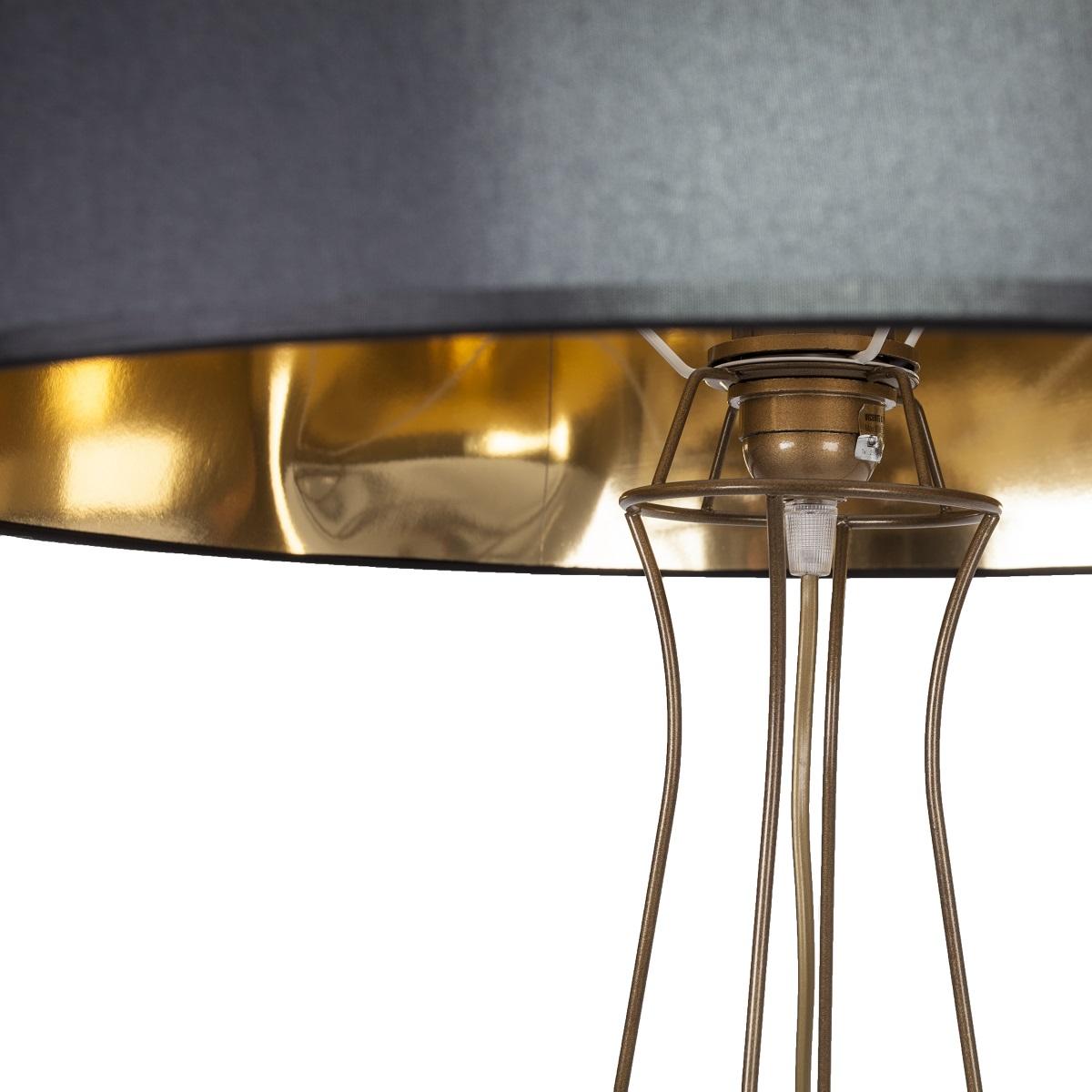 lampenhelden vandeheg stehleuchte petticoat metall leinen schwarz gold 50xh135cm. Black Bedroom Furniture Sets. Home Design Ideas