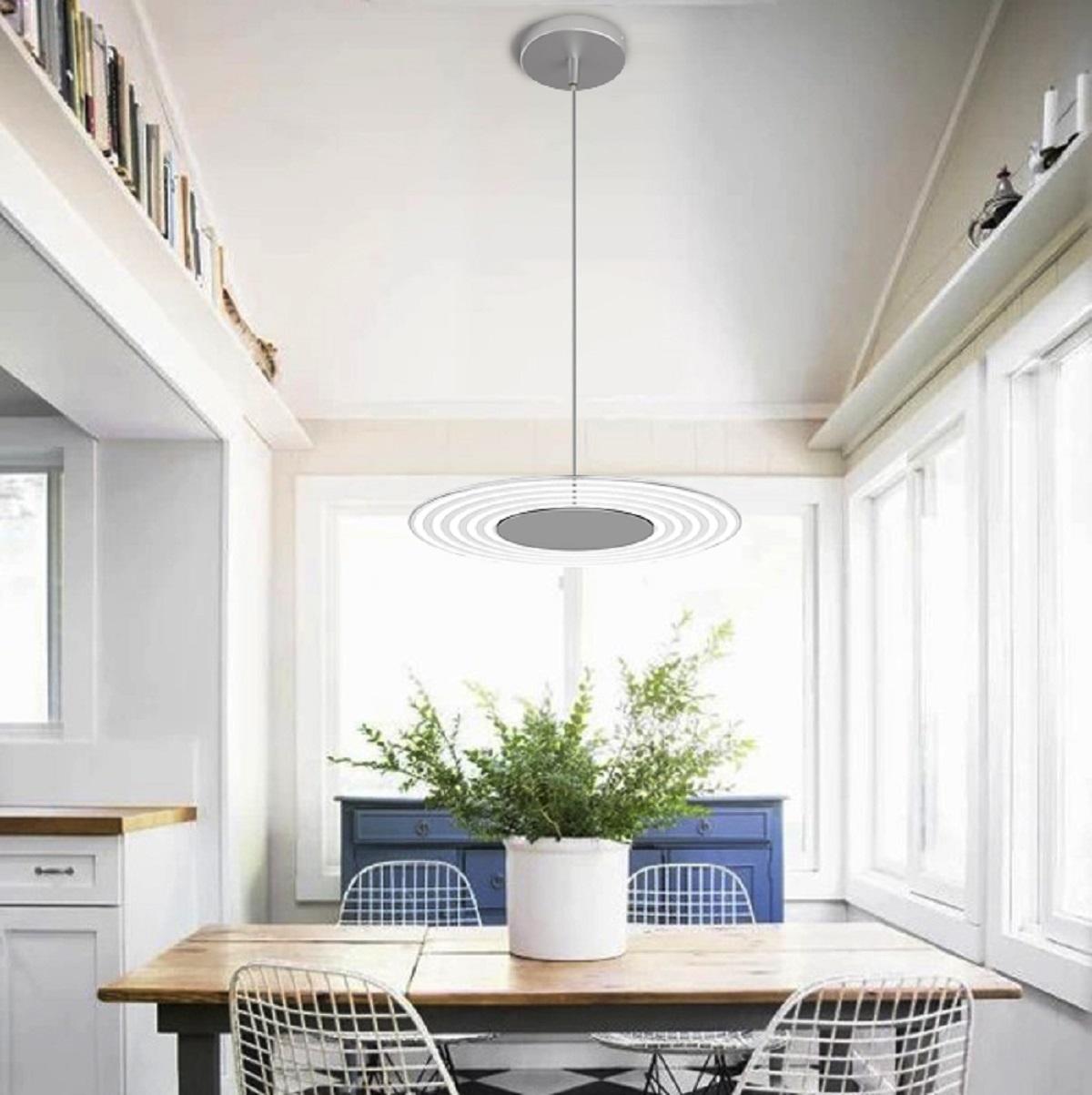 lampenhelden arteluna pendelleuchte adot circ aluminium glas wei gestreift 400mm 24w. Black Bedroom Furniture Sets. Home Design Ideas